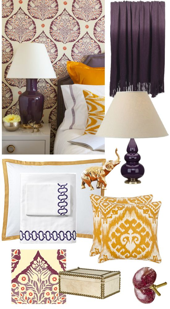 Color inspiration for bedrooms including a plum gourd table lamp from lamps plus on