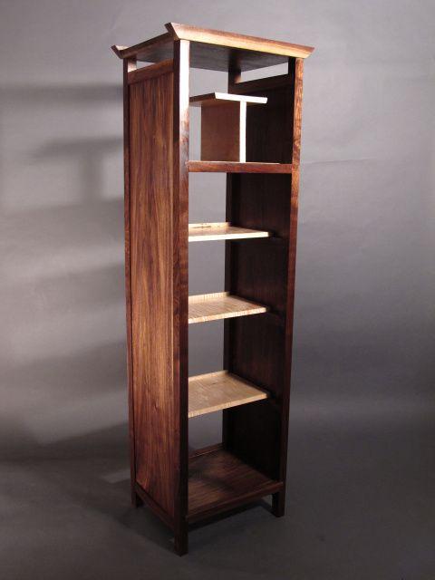 tall narrow bookcase, open midcentury modern bookshelves, handmade custom  furniture · Solid Wood ...