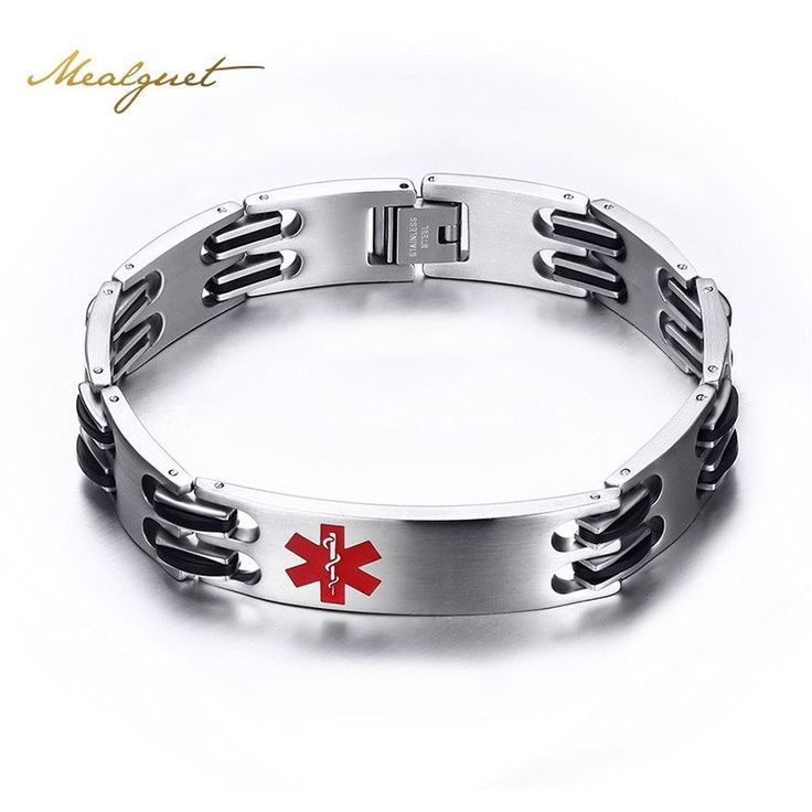 Meaeguet Men's Medical Alert Heart ID Bracelet & Bangle 316L Stainless Steel Link Chain Wrist Medico Alerta Pulseiras Jewelry