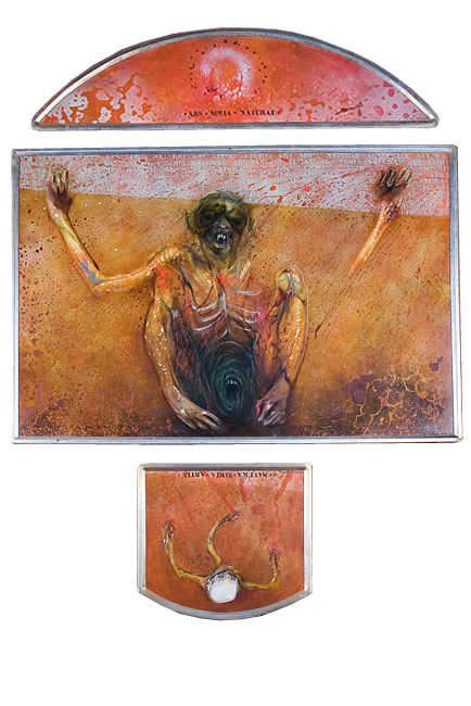 Judith Mason - Monkey Shrine (Triptych), 1987 OIL ON BOARD AND TAPESTRY PANELS, 167 X 120CM COLLECTION: BERGENTHUIN