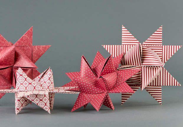 Étoile de Froebel en bandes de papier pliées - tutoriel - schémas du pliage ici : http://photo.prima.fr/plier-une-etoile-de-froebel-3878#etape-1-60850