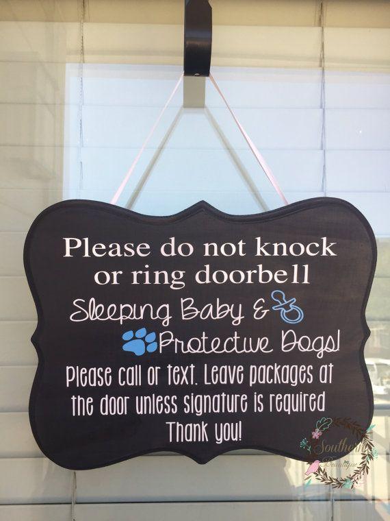 Baby Door Hanger New Baby Sign Baby Door Sign Sleeping Baby