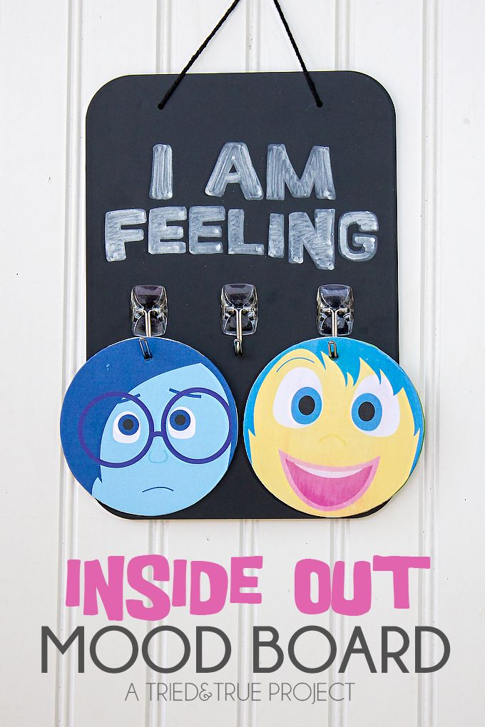 Free printable Inside Out Mood board. Fun DIY project.