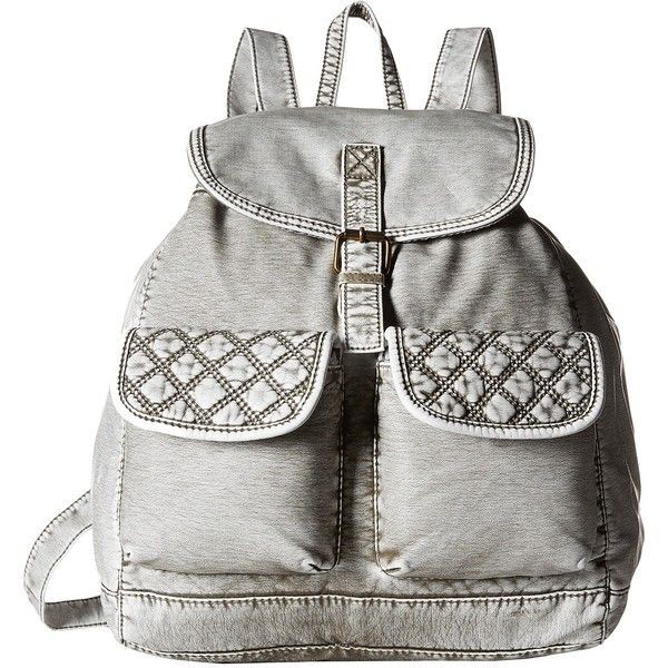 Gabriella Rocha Talullah Washed Backpack with Quilted Pockets (Denim... ($29) ❤ liked on Polyvore featuring bags, backpacks, grey, denim rucksack, quilted backpack, top handle bag, quilted bags and grey backpack