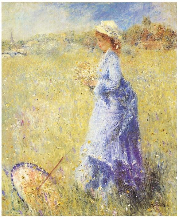 <르누아르_꽃을 따는 여인> 이 작품 역시 카미유의 모습을 그린 르누아르의 작품이다. 르누아르가 카미유를 그린 작품이 여러개 있는데 특징이 모두 카미유가 하늘색 풍의 밝은 옷을 입은 모습을 그림으로 그렸다는 것이다. 그래서 그런지 르누아르의 작품에 등장하는 카미유는 밝고 경쾌한 모습을 하고 있다. 이 작품에서도 꽃을 따고 있는 카미유의 모습이 사랑스럽게 그려져 있다.