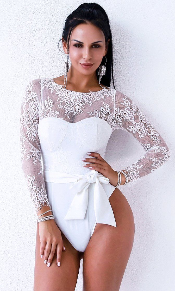 4fbd2c03e Sultry And Sweet White Sheer Lace Long Sleeve Bustier Bow Belt Bodysuit Top