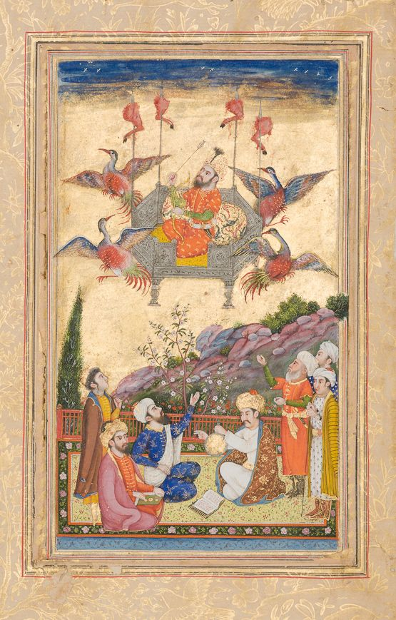 Key Kavus airborne Ferdowsi, Shahnameh Late Mughal: Lahore or Delhi, first quarter of the 19th century Opaque watercolour, ink and gold on paper Nasser D. Khalili Collection of Islamic Art, MSS 723