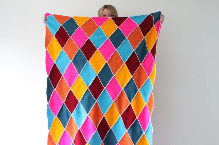 Harlequin blanket- Zjojes Crochet Haken Deken