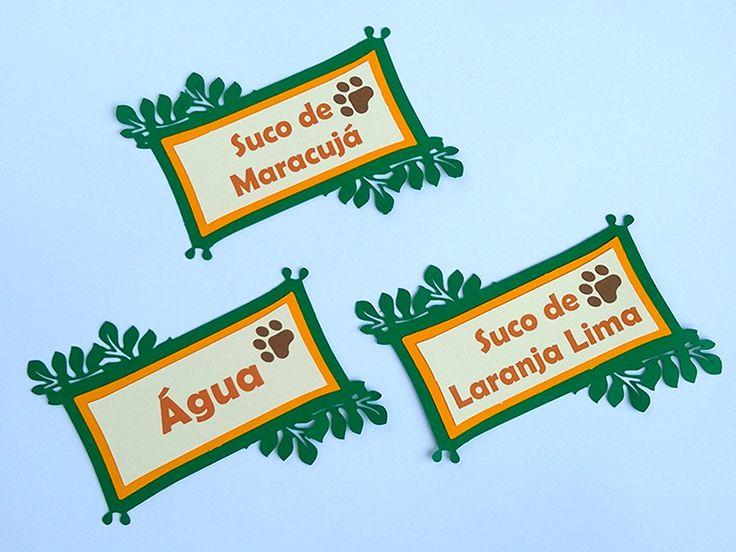 Para deixar as suqueiras com a cara do safári, uma ótima pedida são esses rótulos de folhagens personalizados com o sabor do suco. Festa Safári - Festa Zoológico - Festa na Floresta - Festa na Selva