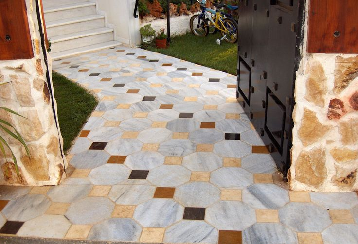 Greek marble tiles octagon semiwhite kavala 28 x 28 cm (approx 11 in) nonslip surface  and square marble tiles mix color honed surface  11,5 x 11,5 cm (approx. 4,5 in)  athanasmarble@gmail.com