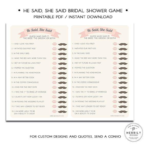 He Said She Said Printable Bridal Shower Game by MERRILYDESIGNS