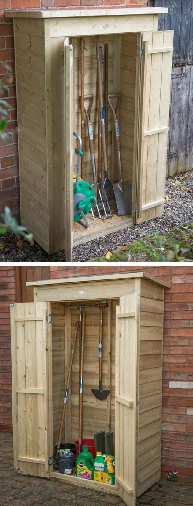 Pent Roofed Tall Garden Stores These Sheds Are Perfect For The Storage Of Spades Forks Brooms An Small Garden Tools Small Garden Storage Garden Tool Storage Backyard garden tool storage