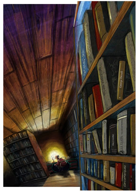 Coriandoli's Bookstore from Michael Ende's The Neverending Story by Mauro Mazzara