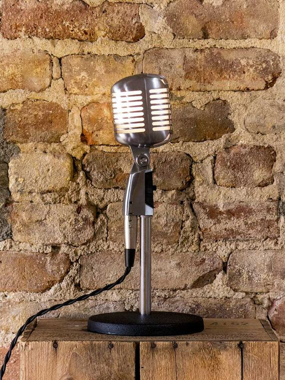 Similar to the vintage mic listed in the Nomad General Store, this Shure 55SH microphone lamp offers the same vintage styling at a great price. Created using a brand new stand and Shure Fat Boy microphone, the lamp features vintage-styled, rayon wrapped wire and an integrated