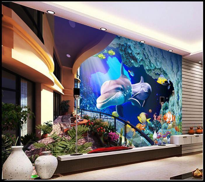 Дешевое Бесплатная доставка современные стены 3D фрески обои, балкон дельфины цветы 3D росписи для тв диван фоне стены papel де parede, Купить Качество Обои непосредственно из китайских фирмах-поставщиках:                                                     Примечание: