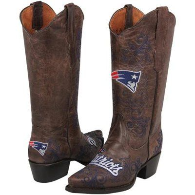 New England Patriots Womens Embroidered Cowboy Boots - Brown