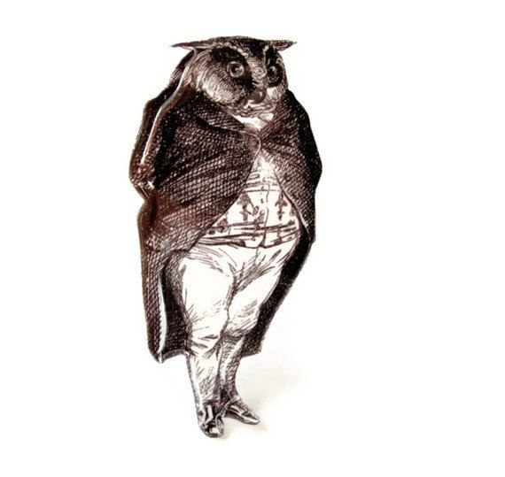 Owl Brooch Victorian Illustration Tuxedo Anthropomorphic Black and White Fantasy Animal. $18.00, via Etsy.