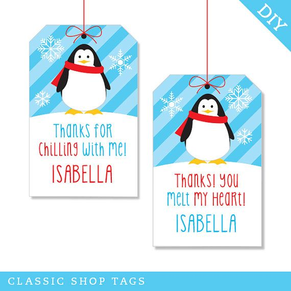 Penguin party Personalized DIY printable favor tags by Chickabug