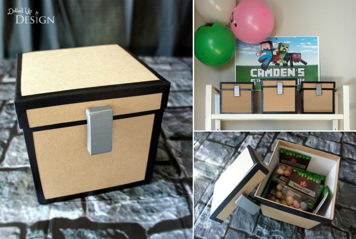 Minecraft Party Games:     few of the items were put in these DIY Minecraft chests and hidden throughout the upper level of our house. These were quick and easy to make using some cardboard gift boxes I found at Michael's, and a bit of electrical tape and duct tape for the details.