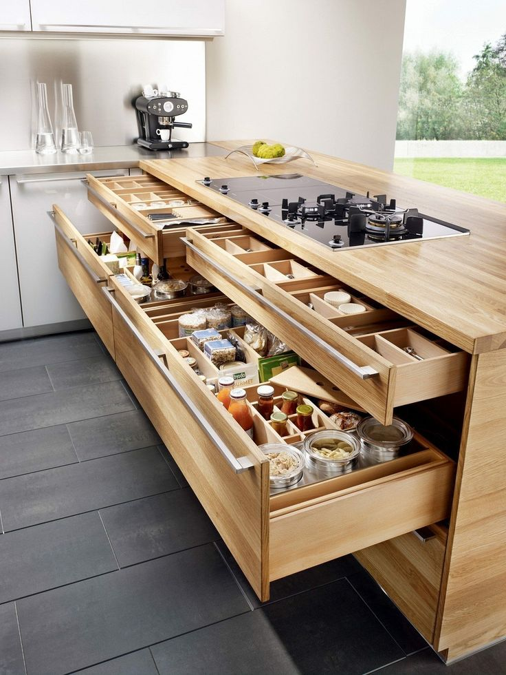 4: kitchen bench that allows us to face toward the patio or deck depending on the season. Drawers//Food Storage