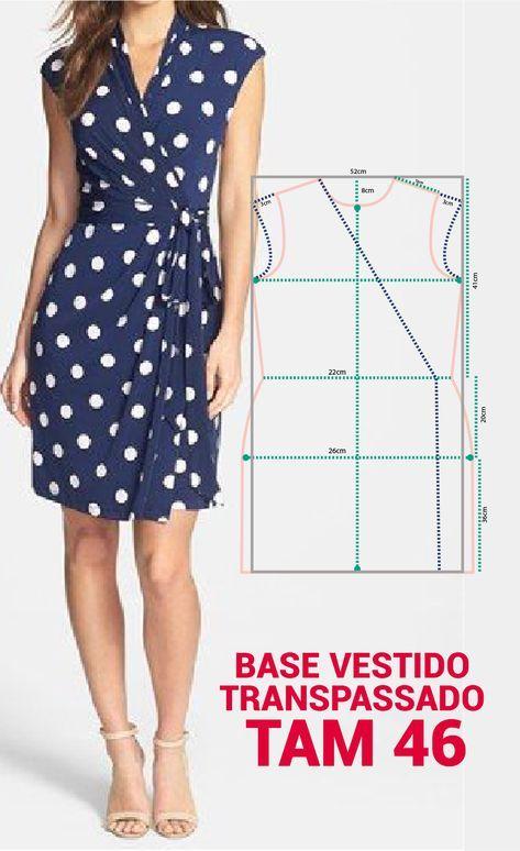 MOLDE VISTIDO TRANSPASSADO DE MALHA TAMANHO 46 . Fair dress template ...
