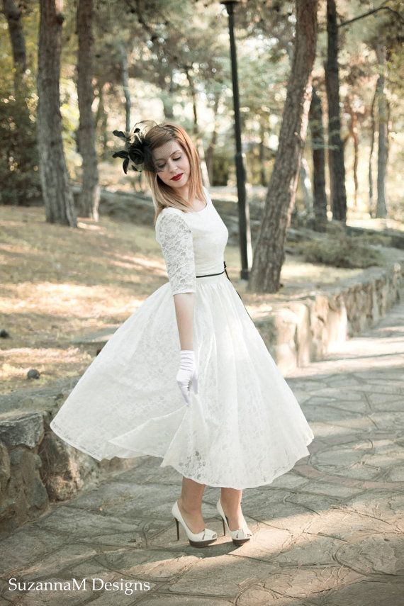 Ivory Cream 50s Wedding Dress Full Skirt Original 50s Style Bridal Dress Tea Length Dress - Handmade by SuzannaM Designs on Etsy, 496,00€