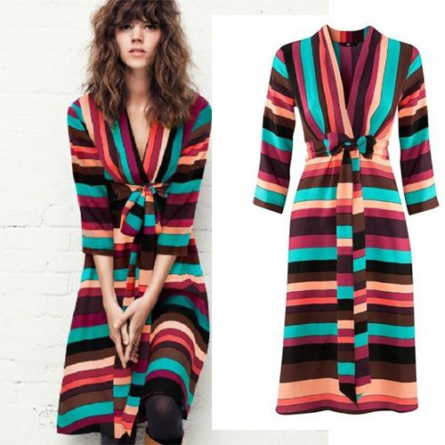 New Plus Size Rainbow Colorful Striped with Sashes V Neck Sexy Vintage Knee Length loose Casual Novelty Dresses Plus size C3245-in Dresses from Women's Clothing & Accessories on Aliexpress.com | Alibaba Group
