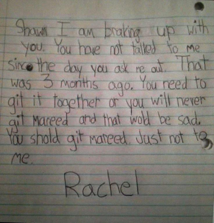 Best  Break Up Letters Ideas On   Teaching American