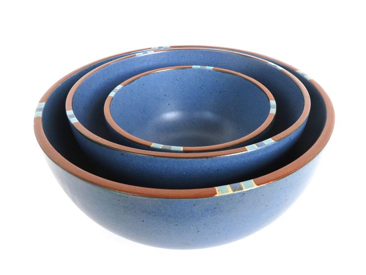 "Dansk Mesa Blue 8 3/4"" Serving Bowl, Modern Southwestern Stoneware Bowl, Dansk Mesa Mixing Bowl, Nesting Bowl, Blue Boho Kitchen by HerVintageCrush on Etsy"