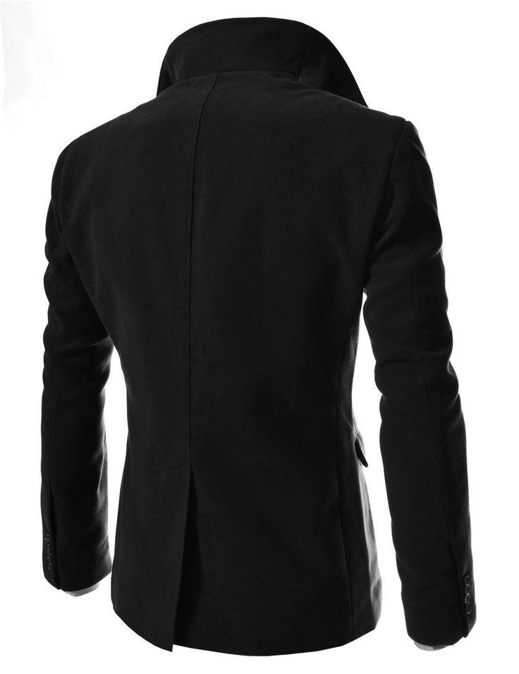 TheLees Mens Unbalance High Neck Slim PEA Coat Black X-Large(US Large)