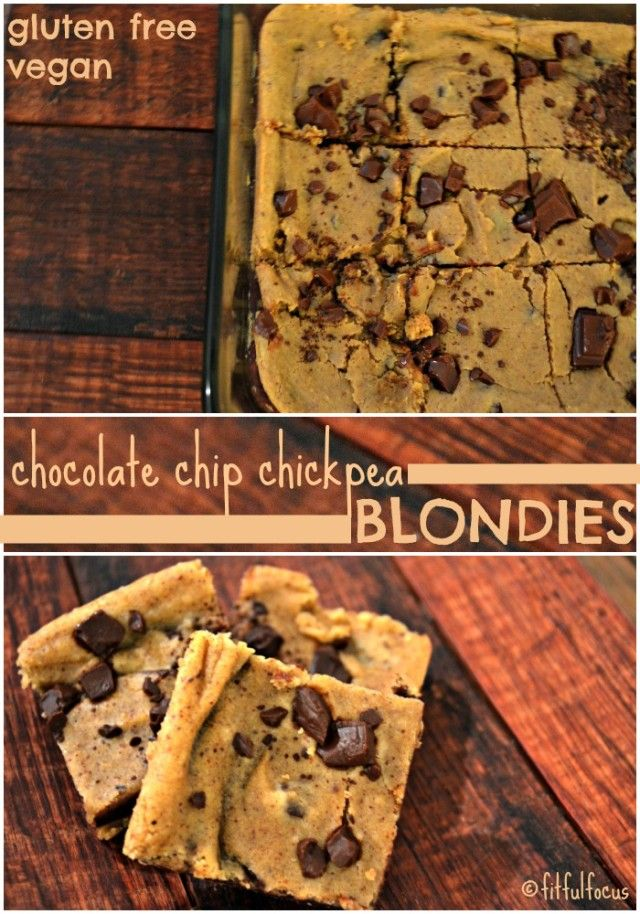 Chocolate Chip Chickpea Blondies {vegan, gluten free} - Fitful Focus