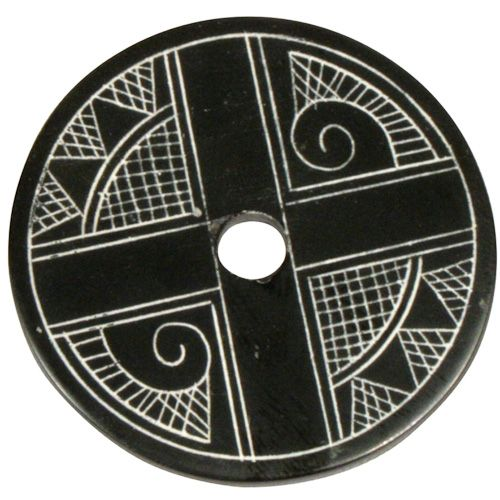 "Coal Pendant with Muisca Scroll #4  Crafted by Artisans in Colombia  Measures 1-3/4"" diameter and 1/8"" thick"