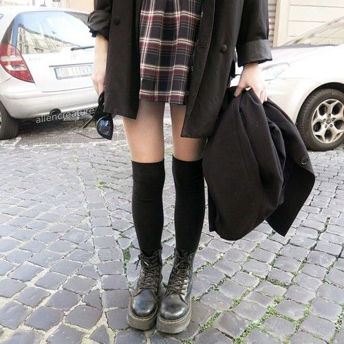 plaid and over the knee socks