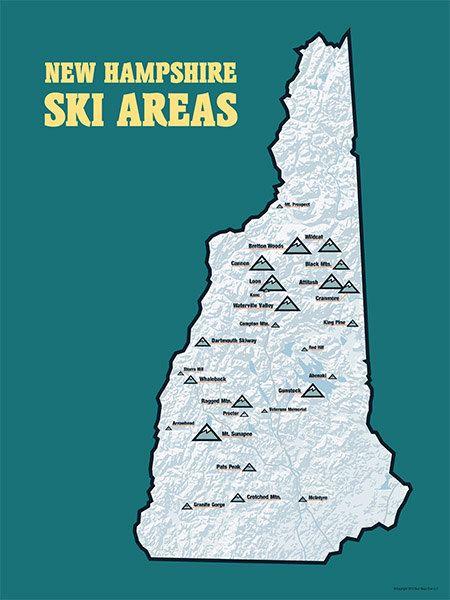 New Hampshire Ski Resorts Map 18x24 Poster #417