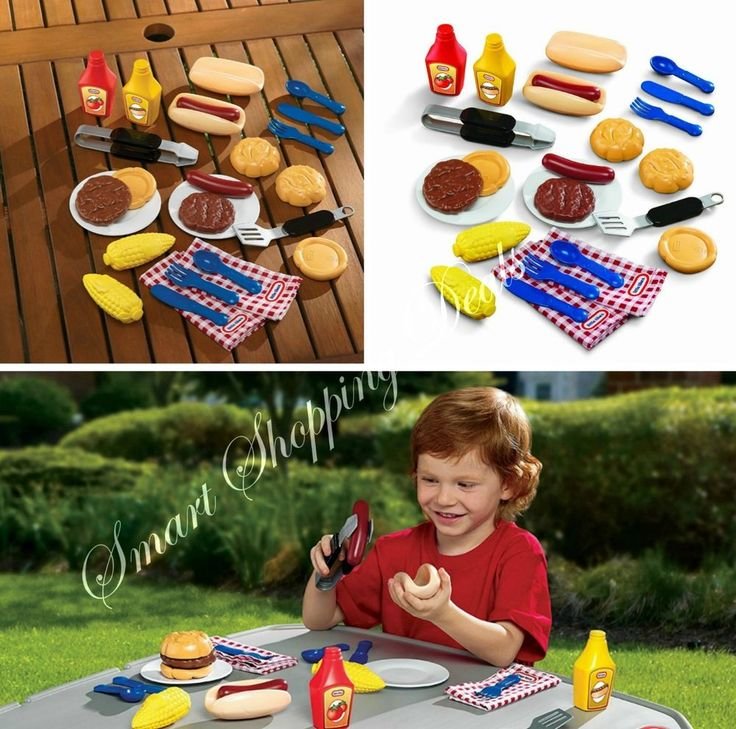 Kids Pretend Play Food Set 20 pc Barbeque Grillin Goodies Kid Toys Picnic Lunch  #NA