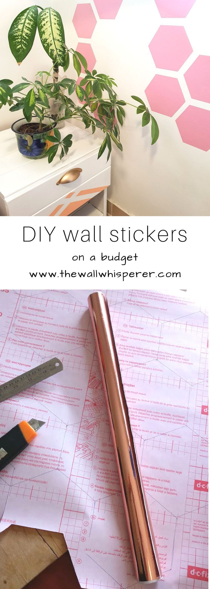 On a budget wall stickers.  DIY home decor tutorial tutorial.  Pink bedroom makeover.