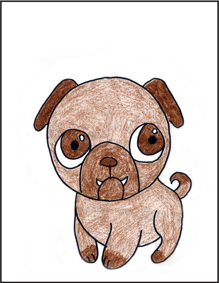 art projects for kids how to draw a pug tutorial - Cartoon Drawings Kids