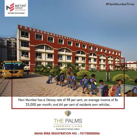 #NaviMumbaiTrivia  Navi Mumbai has a literacy rate of 98 per cent, an average income of Rs. 25,000 per month; and 64 per cent of residents own vehicles.  www.metrogroupindia.com  #MetroGroup #RealEstate #Property #LuxuryHomes #NaviMumbai