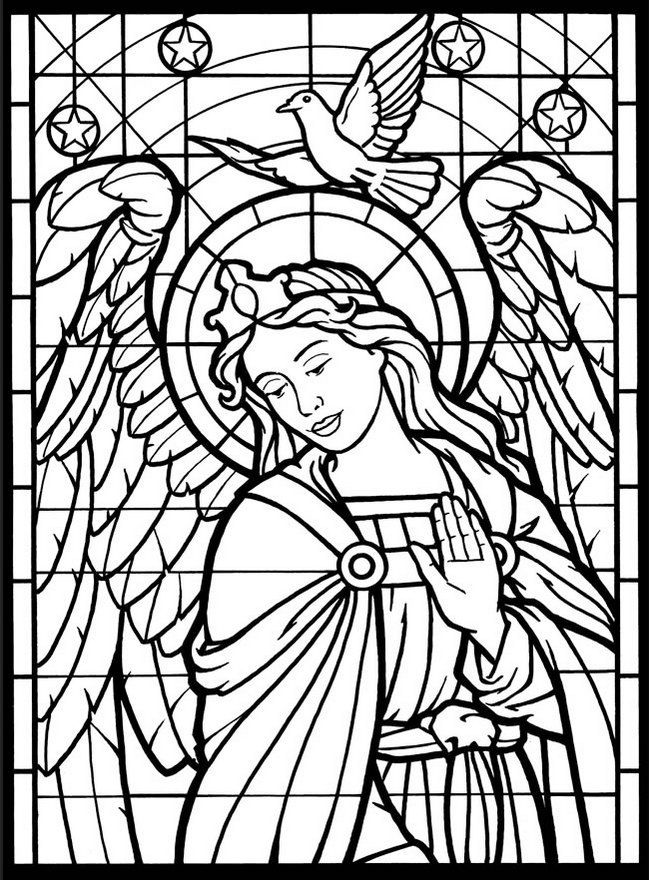 Angles coloring pages ~ Stained glass window coloring book | Ilustrator