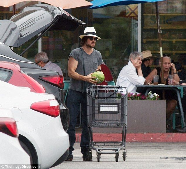 Gentleman:Ian seemed to do all the heavy lifting as he hauled the groceries into the trunk of their black car. At one point the Lost actor was seen holding a watermelon