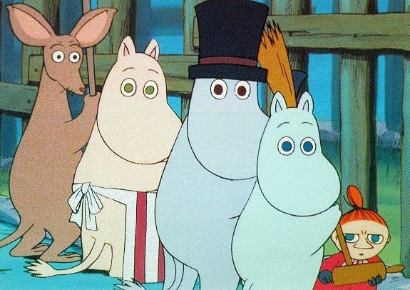 "Muumilaakson Tarinoita /// (Finnish for ""Tales from Moominvalley"") story books and cartoons written and illustrated by Tove Jansson, turned into a tv series as well as movie. Quintessential Finnish childhood!"