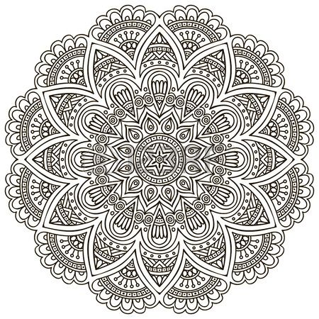 Mandala Round Ornament Pattern Vintage decorative elements Hand drawn background Islam Arabic Indian Stock Vector