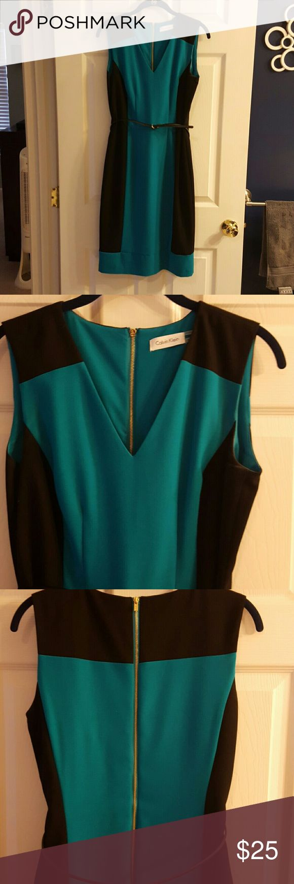 Calvin Klein Teal and Black Color Block dress Sheath dress. Black and teal color block. Sleeveless. Hits at knee. Worn once. Calvin Klein Dresses Mini