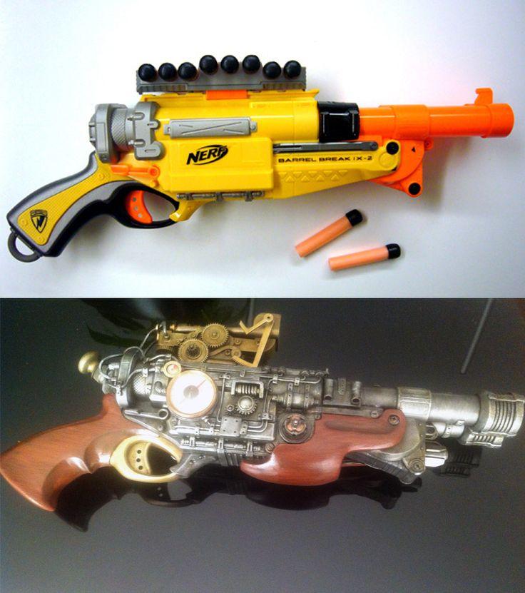 Amazing Mod -- Almost unrecognizable Barrel Break Nerf gun to sawed off Steampunk shotgun  by Mazagainst.deviantart.com on @deviantART