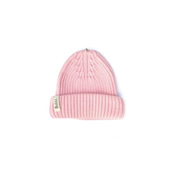 Classic Hat In Pale Pink ($61) ❤ liked on Polyvore featuring accessories, hats, logo hats, bobble hat, fur pom-pom hats, fur bobble hat and snap hat