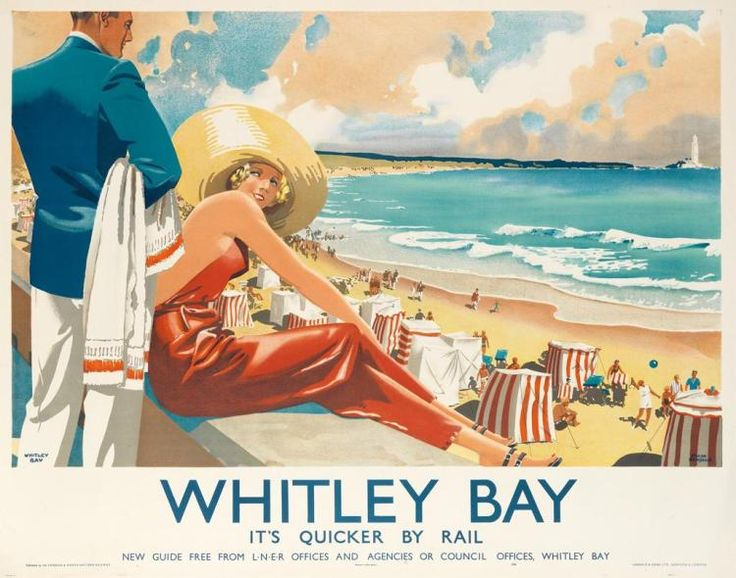 FRANK NEWBOULD (1887-1951) <b>WHITLEY BAY / IT'S QUICKER BY RAIL. 1940.</b> <br /> 40x49 3/4 inches, 101 1/2x26 1/2 cm. Jarrold