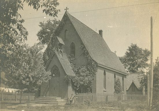 The former chapel of Trinity College School, now St. John's Anglican Church in Weston, Ontario. Trinity College School moved to a new location in Port Hope, Ontario, in 1868, and the chapel building has also been moved since then to a different site in Weston, and is now known as St. John's Anglican Church. William Osler was a student at Trinity College School from 1866 to 1867, and would have attended services at this chapel.