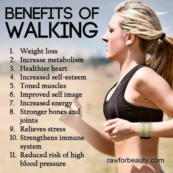 Walking at a moderate pace for 30-60 minutes burns stored fat and can build muscle to speed up your metabolism. It is also associated with cutting your risk of heart disease, breast cancer, colon cancer, diabetes and stroke. Isn't it time to work 1-hour walks into your busy lifestyle?