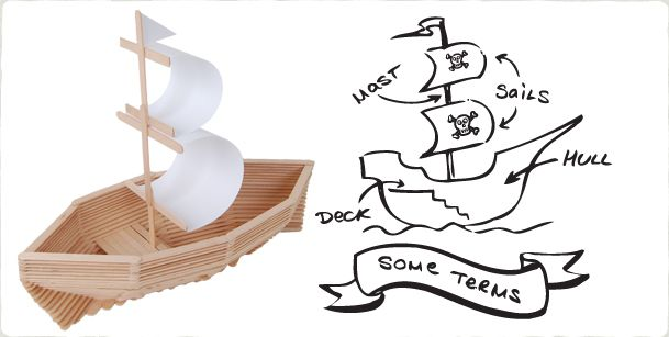 Popsicle stick pirate ship. Summer boredom buster.