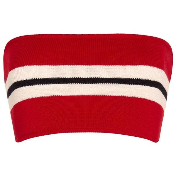Etienne Deroeux Striped Bandeau Knit (1.460 DKK) ❤ liked on Polyvore featuring tops, crop top, red, shirts, bralets, red crop top, red top, red striped top, summer crop tops and striped crop top